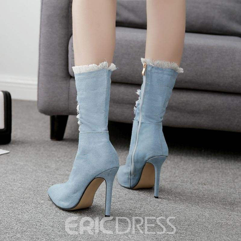 Ericdress Denim Side Zipper Stiletto Heel Calf High Boots