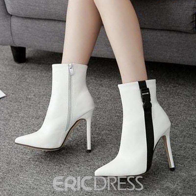 Ericdress Patchwork Side Zipper Pointed Toe Women's Ankle Boots