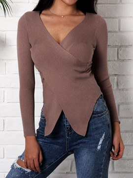 Ericdress Plain V-Neck Casual Slim Knitwear