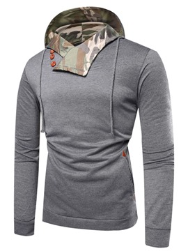 Ericdress Patchwork Camouflage Hooded Slim Pullover Mens Hoodies