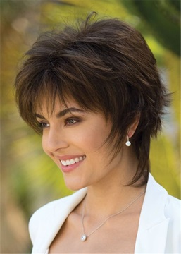 Ericdress Short Layering Cut Straight Human Hair Lace Front Cap Wig
