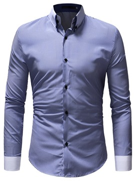 Ericdress Striped Slim Patchwork Button Down Mens Casual Dress Shirts
