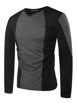 Ericdress V-Neck Color Block Slim Long Sleeve Mens Casual T Shirts