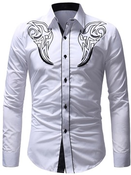 Ericdress Printed Color Block Slim Fit Mens Casual Shirts