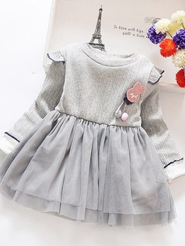 Ericdress Pleated Mesh Patchwork A-Line Baby Girl's Casual Dress