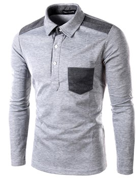 Ericdress Color Block Slim Long Sleeve Mens Casual Polo T Shirts