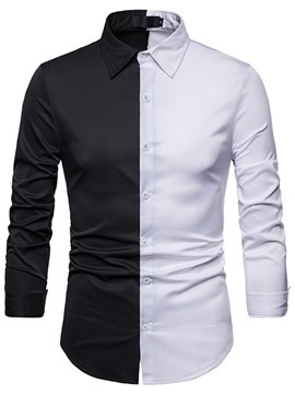 Ericdress Color Block Button Up Slim Mens Casual Shirts