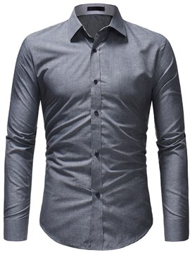 Ericdress Plain Slim Fitted Button Up Mens Casual Dress Shirts