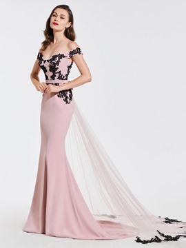 Ericdress Off The Shoulder Applique Mermaid Evening Dress