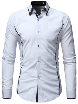 Ericdress Side Striped Slim Lapel Button Down Mens Casual Dress Shirts