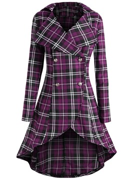Ericdress Double-Breasted Plaid Button Long Sleeves Trench Coat