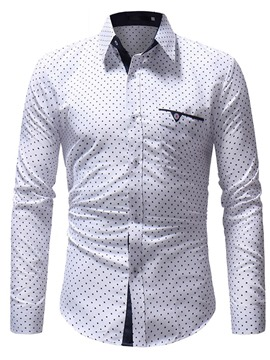 Ericdress Polka Dots Slim Button Up Mens Casual Shirts