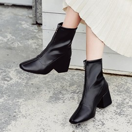 Ericdress Square Toe Front Zipper Women's Ankle Boots