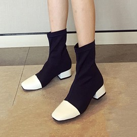 Ericdress Patchwork Square Toe Women's Ankle Boots