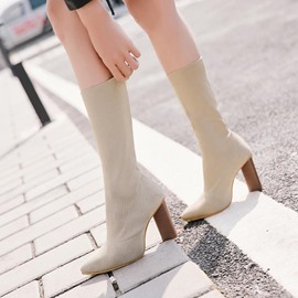 Ericdress Mesh Pointed Toe Chunky Heel Calf High Boots