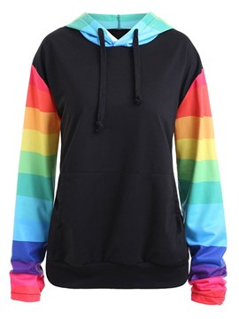Ericdress Loose Color Block Long Sleeves Cool Hoodie