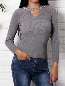 Ericdress V-Neck Beading Casual Knitwear