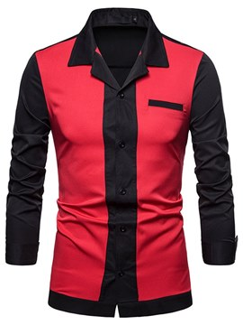 Ericdress Color Block Lapel Slim Mens Casual Shirts