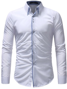 Ericdress Patchwork Plain Slim Button Down Mens Dress Shirts