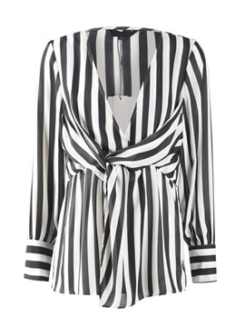 Ericdress Stripe V-Neck Plus-Size Pleated Long Sleeve Blouse