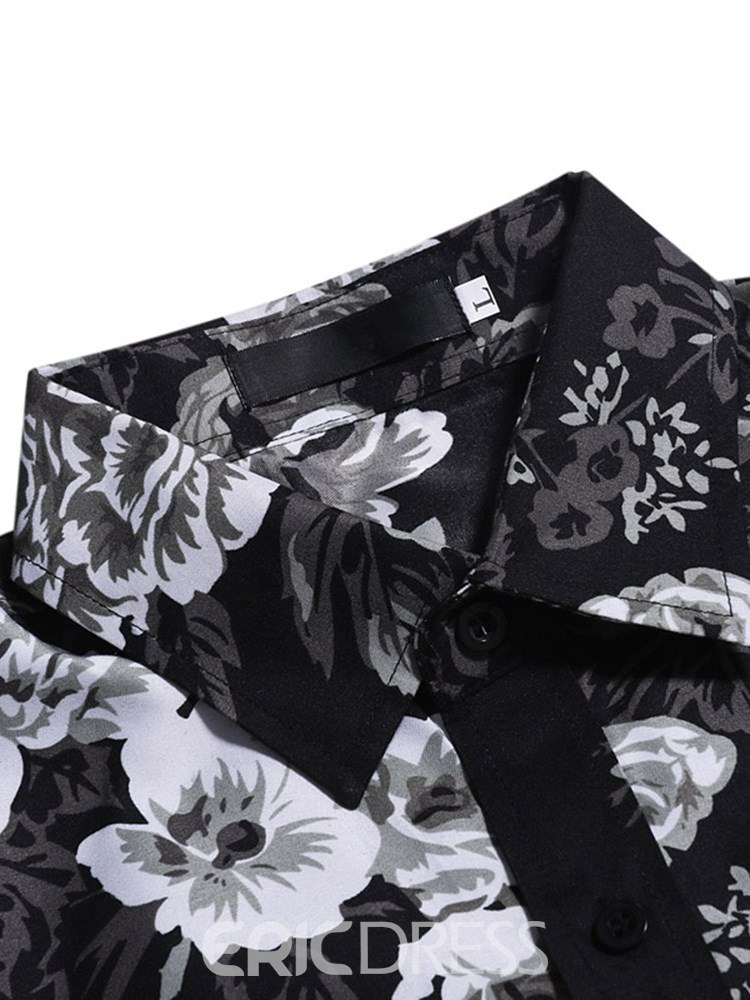 Ericdress Floral Print Slim Fitted Lapel Mens Casual Shirts
