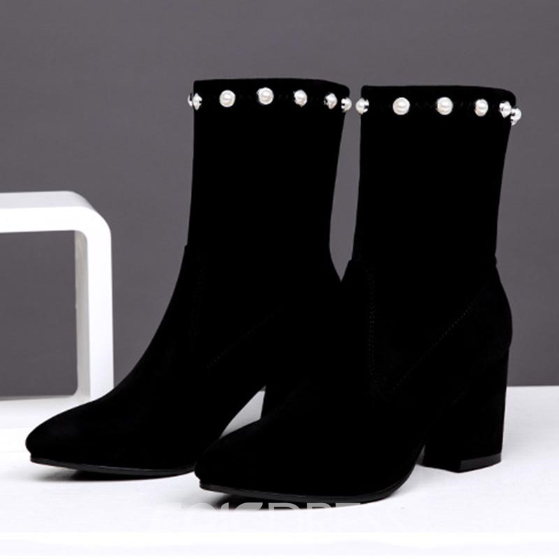 Ericdress Beads Pointed Toe Chunky Heel Women's Ankle Boots