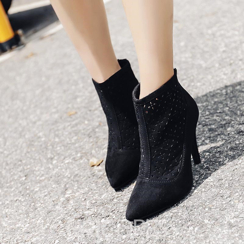 Ericdress Hollow Pointed Toe Women's Ankle Boots