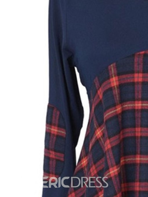 Ericdress Plaid Scoop Patchwork Long Sleeve T-shirt