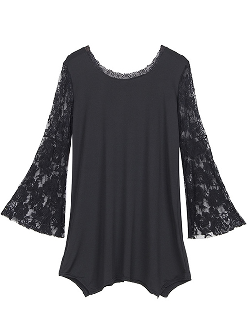 Ericdress Asymmetric Patchwork Lace Plus Size T-Shirt