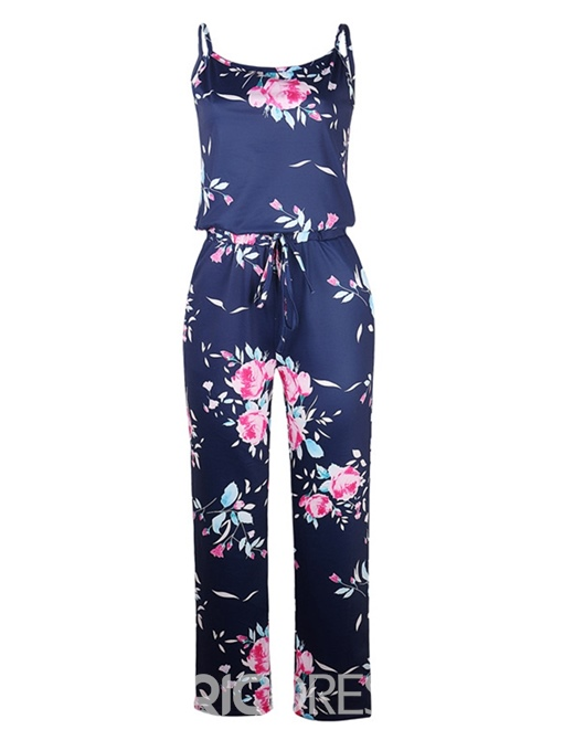 Ericdress Full Length Travel Look Floral Mid Waist Loose Jumpsuit