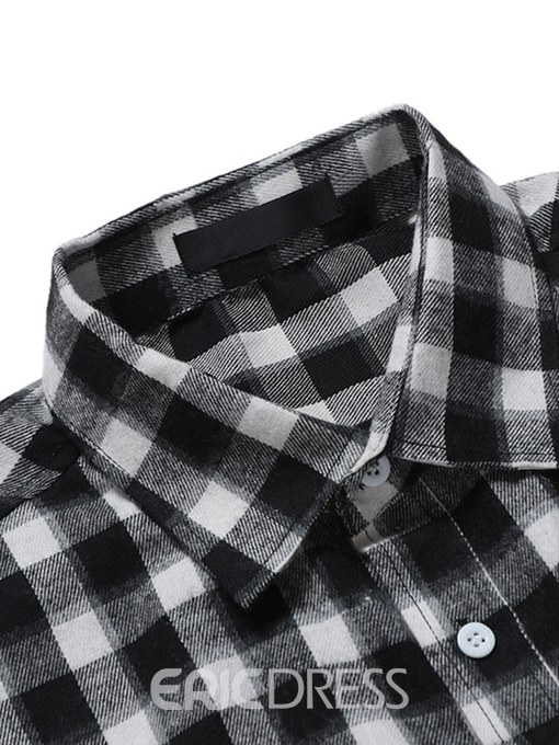 Ericdress Plaid Slim Lapel Single Breasted Mens Casual Shirts