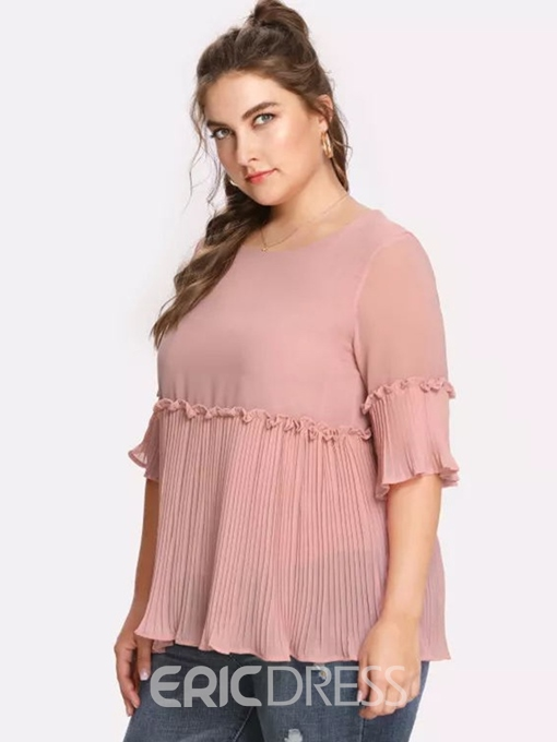 Ericdress Pleated Stringy Selvedge Plus Size Blouse