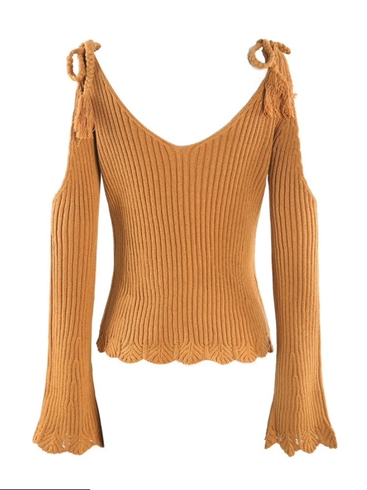 Ericdress Lace-Up Flare Sleeve Plus Size Sweater