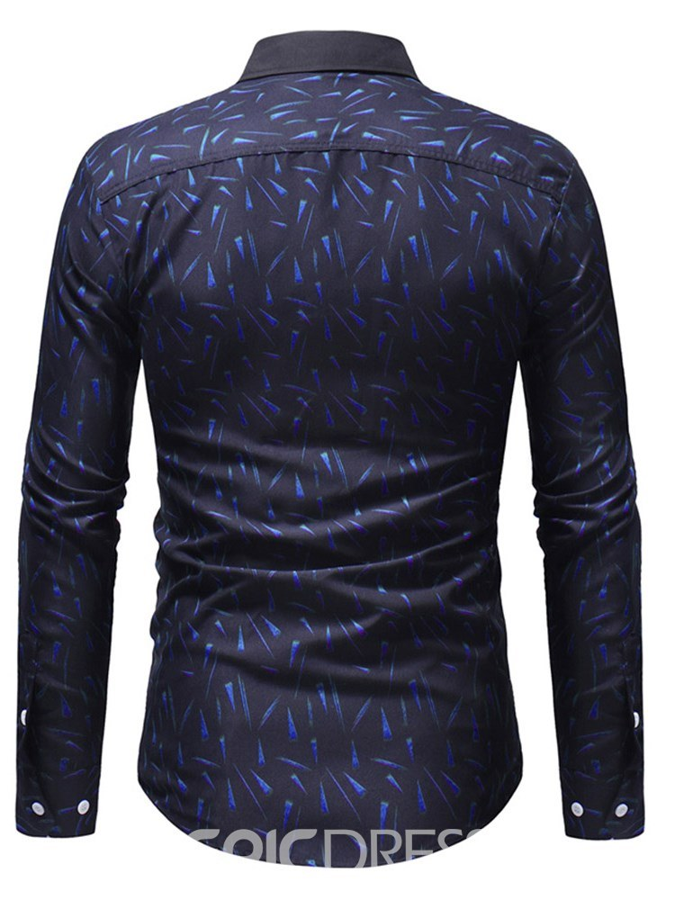 Ericdress Geometric Pattern Printed Mens Slim Lapel Casual Shirts