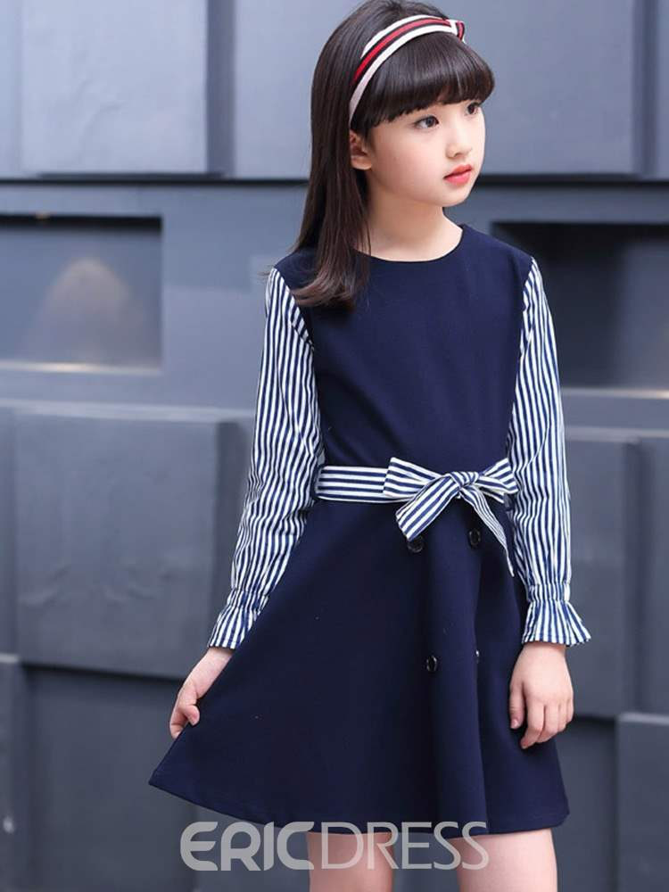 Ericdress Striped Bowknot Patchwork A-Line Girl's Casual Dress