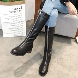 Ericdress Front Zipper Block Heel Knee High Boots