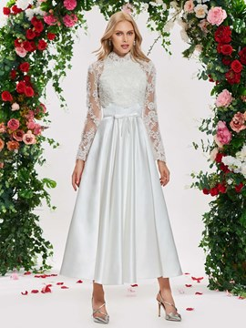 Ericdress Appliques Long Sleeves Tea Length Wedding Dress