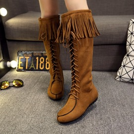 Ericdress Fringe Side Zipper Women's Knee High Boots