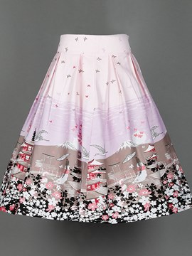 Ericdress Print Broomstick Pleated Womem's Skirt