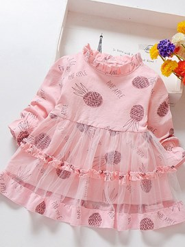Ericdress Mesh Printed Patchwork Bowknot A-Line Baby Girl's Casual Dress