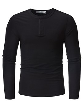 Ericdress Plain Quarter Zip Mens Casual Long Sleeve T Shirts
