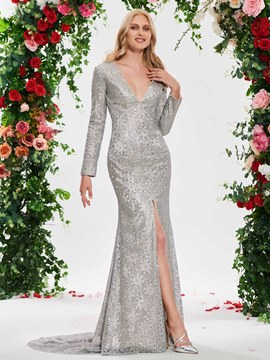 Ericdress Mermaid Sequins Long Sleeves Wedding Dress