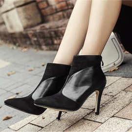 Ericdress Patchwork Pointed Toe Stiletto Heel Ankle Boots
