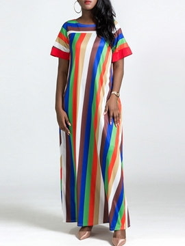 Ericdress Stripe Casual Pullover Women's Maxi Dress