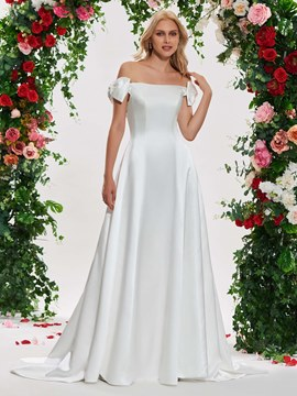 Ericdress Off the Shoulder A Line Matte Satin Wedding Dress