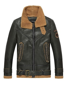 Ericdress Vintage Slim PU Mens Leather Warm Winter Jacket