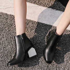 Ericdress Plain Square Toe Chunky Heel Women's Ankle Boots