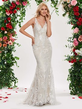 Ericdress V-Neck Mermaid Lace Wedding Dress