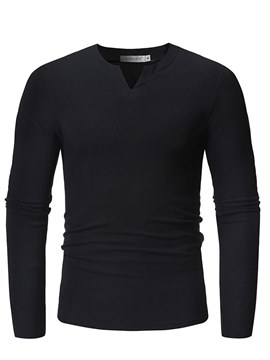Ericdress Plain V-Neck Slim Mens Casual Long Sleeve T Shirts