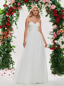 Ericdress A Line Sweetheart Appliques Tulle Wedding Dress